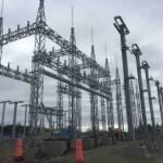 Substation: overall view of erected steel structures (May 2016)