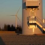 View at the base of a wind turbine