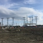 Overall view of erected structural steel at the substation (May 2016)