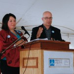 Terri Lynn Morrison and Luc Leblanc at the ground-breaking ceremony on June 22, 2015